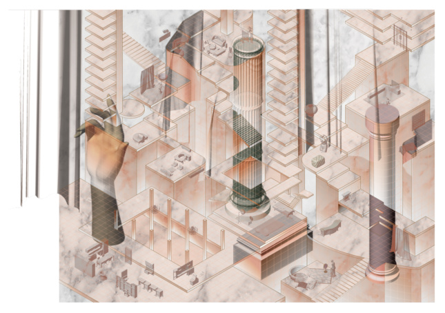 Rendering of interiors intstallation that's pink and abstract