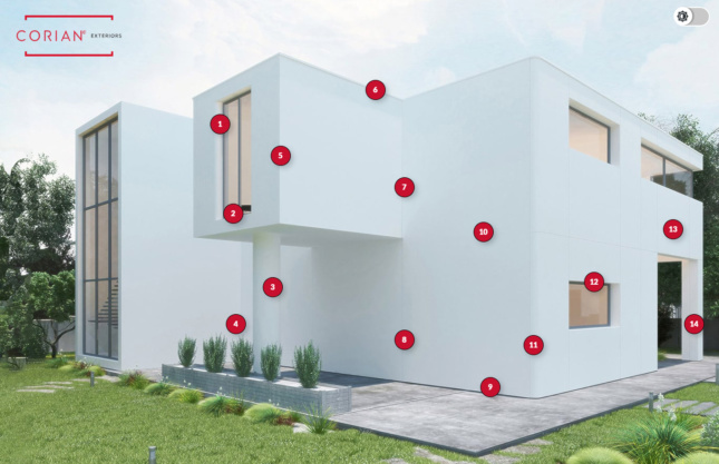 Photo of a modernist house with red numbered dots superimposed across its surface