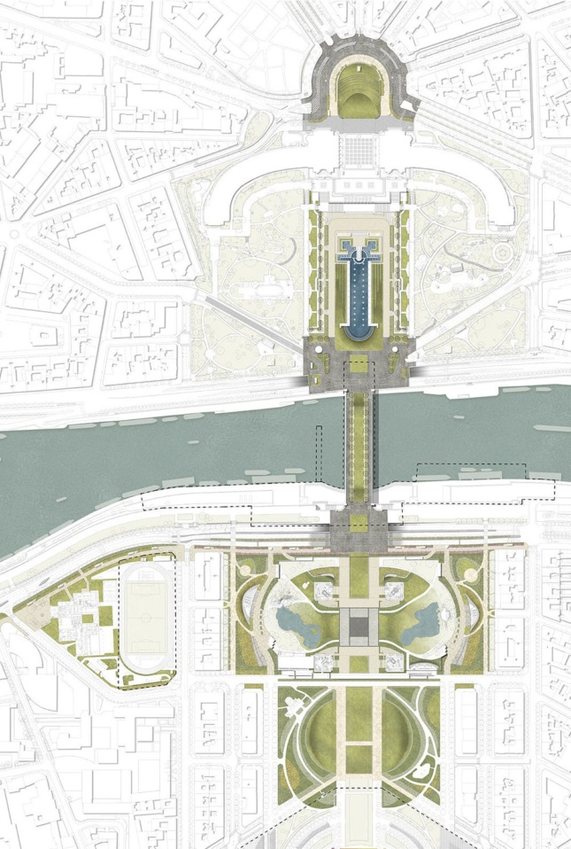 Site plan depicting a greenway running one-mile from the Eiffel Tower in either direction