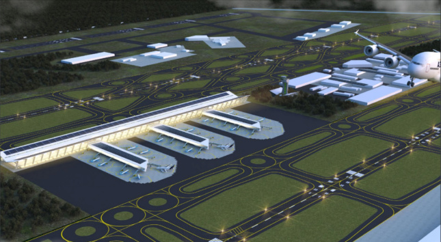 Aerial rendering of an airport with three terminals