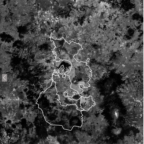 Satellite map of Mexico City with city and Lake Texcoco outlined