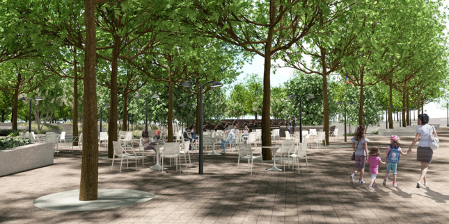Rendering of seating within urban park and memorial