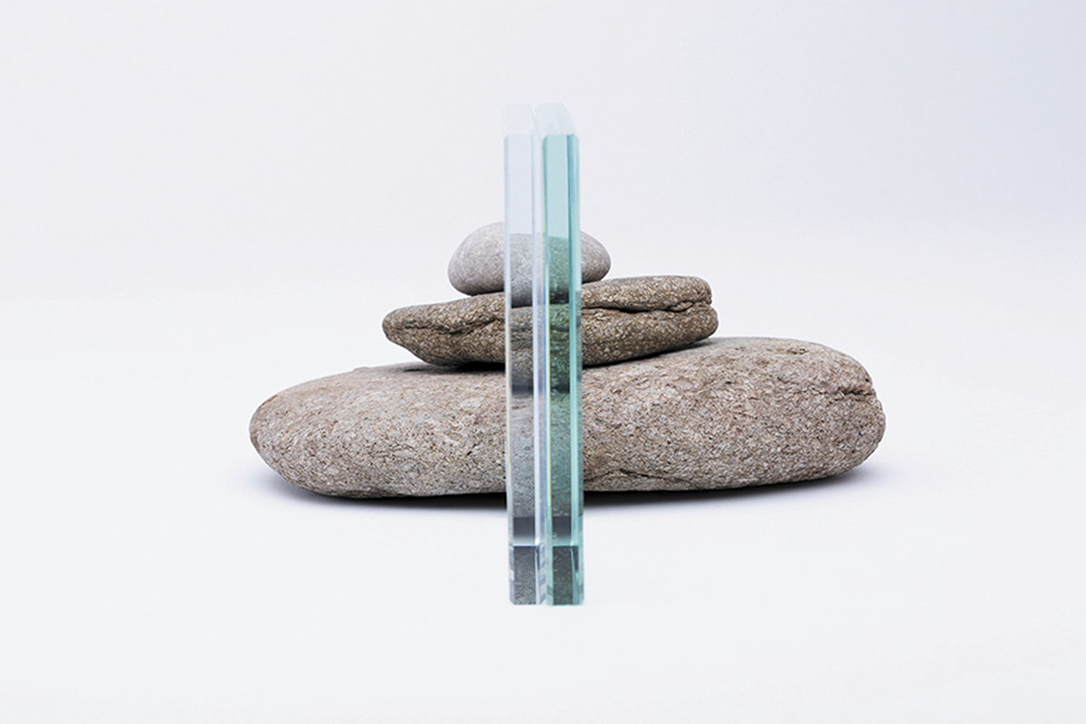 Photo of glass sample and some rocks