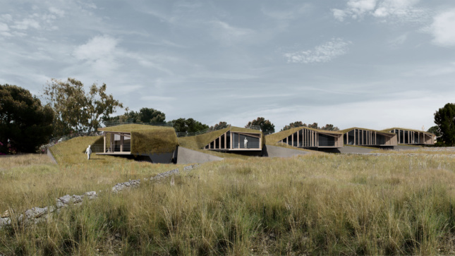 Rendering of houses embedded in a landscape
