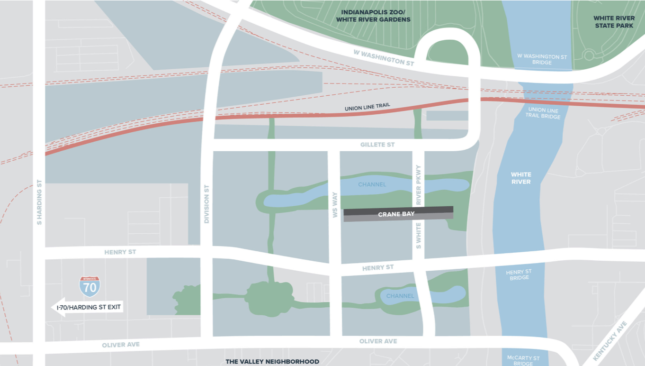 Map showing the Waterside site in The Valley neighborhood in Indianapolis with Crane Bay extending over S White River Pkwy