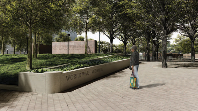 Rendering of back entrance to WWI Memorial