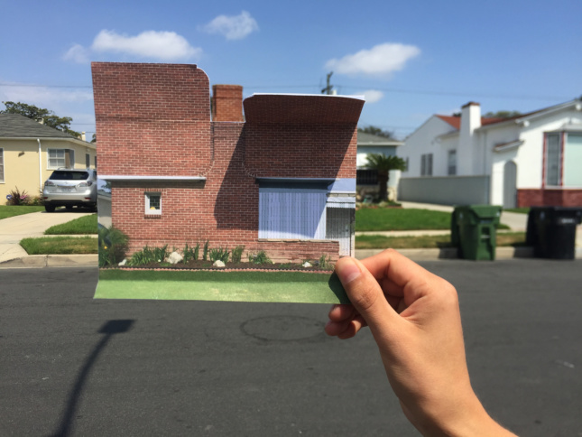 Image of a residential street and a photograph imposed on a home