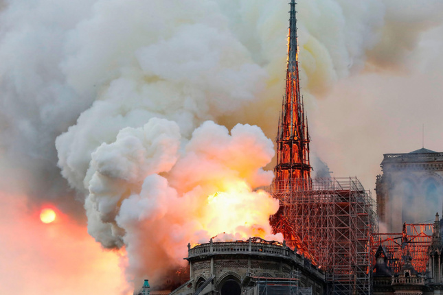 Photo of Notre Dame Cathedral engulfed in flames