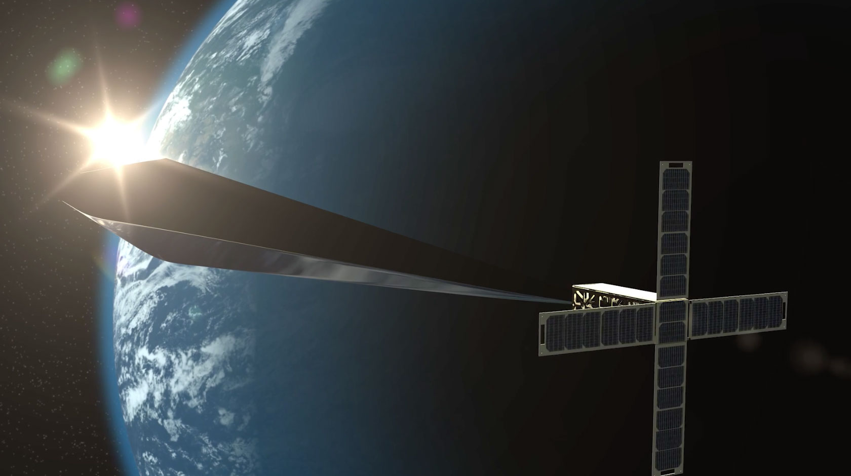 Rendering of a diamond-shaped obelisk attached to a satellite in orbit