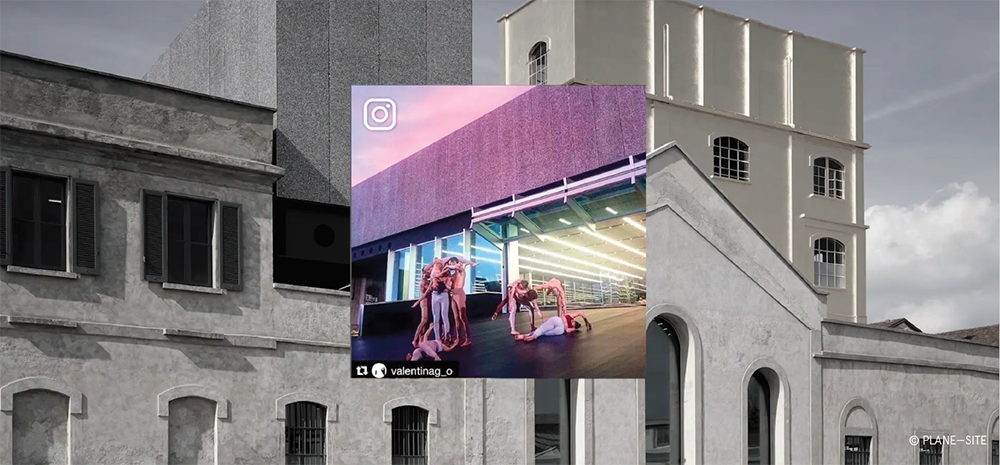 An instagram post of dancers superimposed against a gray facade