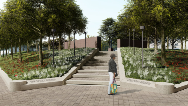 Rendering of landscaped entrance to WWI memorial