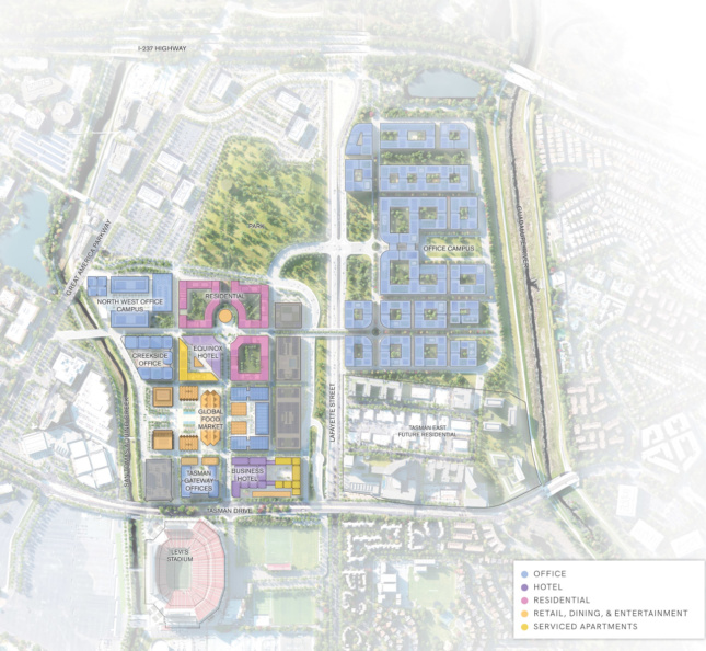 An aerial site plan that places residential and office projects to the west, and space for a multibuilding corporate campus to the east of Lafayette Street
