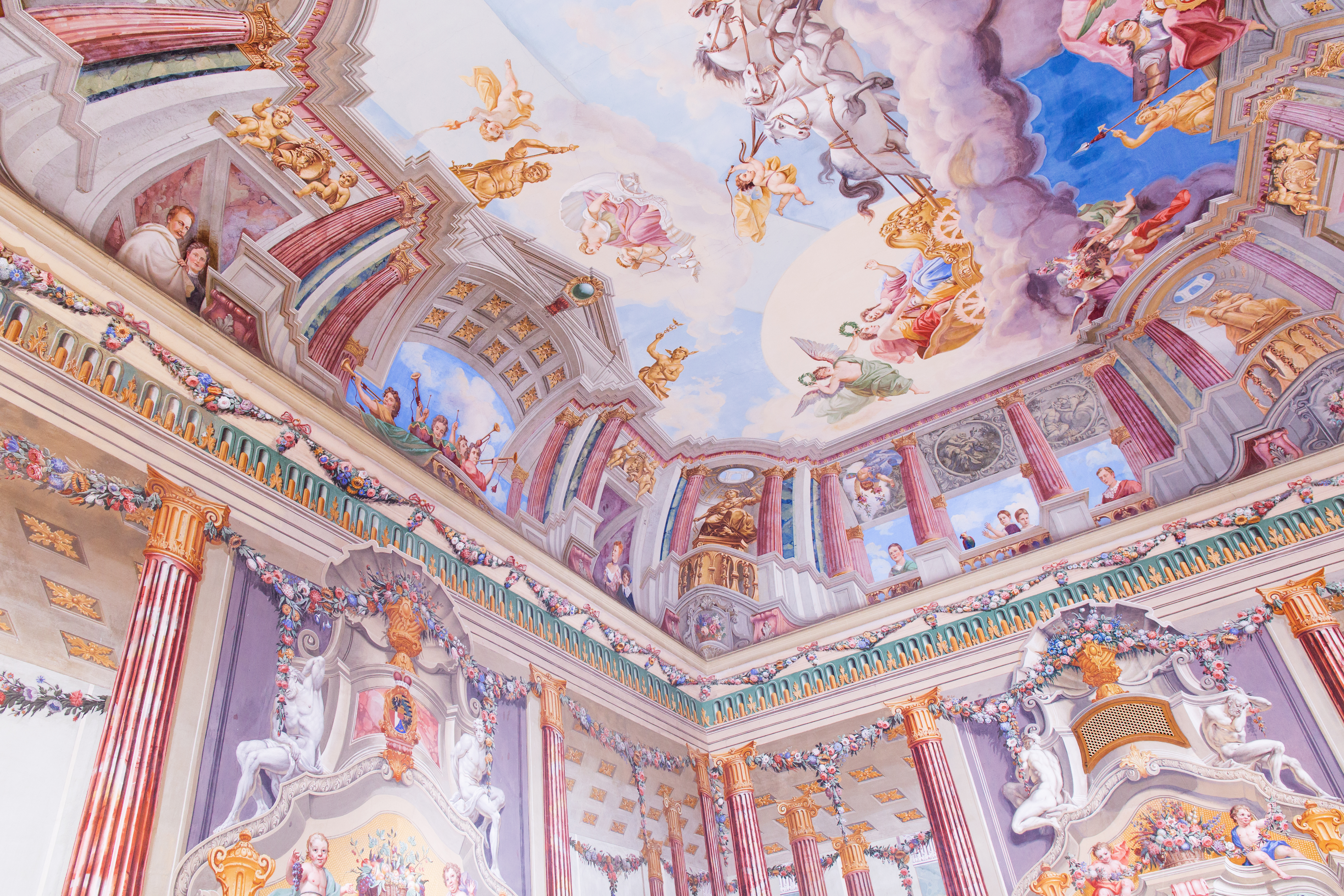 Photo of an elaborately decorated ceiling