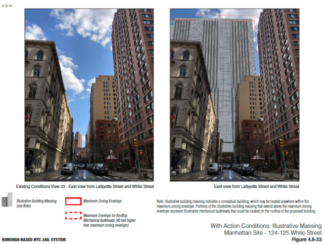 A side-by-side image of a tower, and then a rendering of a square, 45-story building