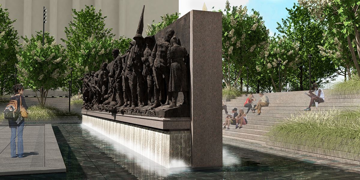 Rendering of relief sculpture of soldiers within water fountain and urban park