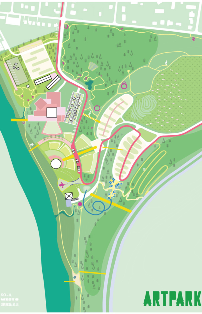 A long park site map that shows a number of trails and circulation paths