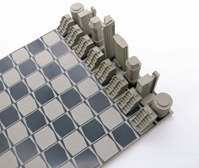 Photo of chess set shaped like brutalist buildings in London