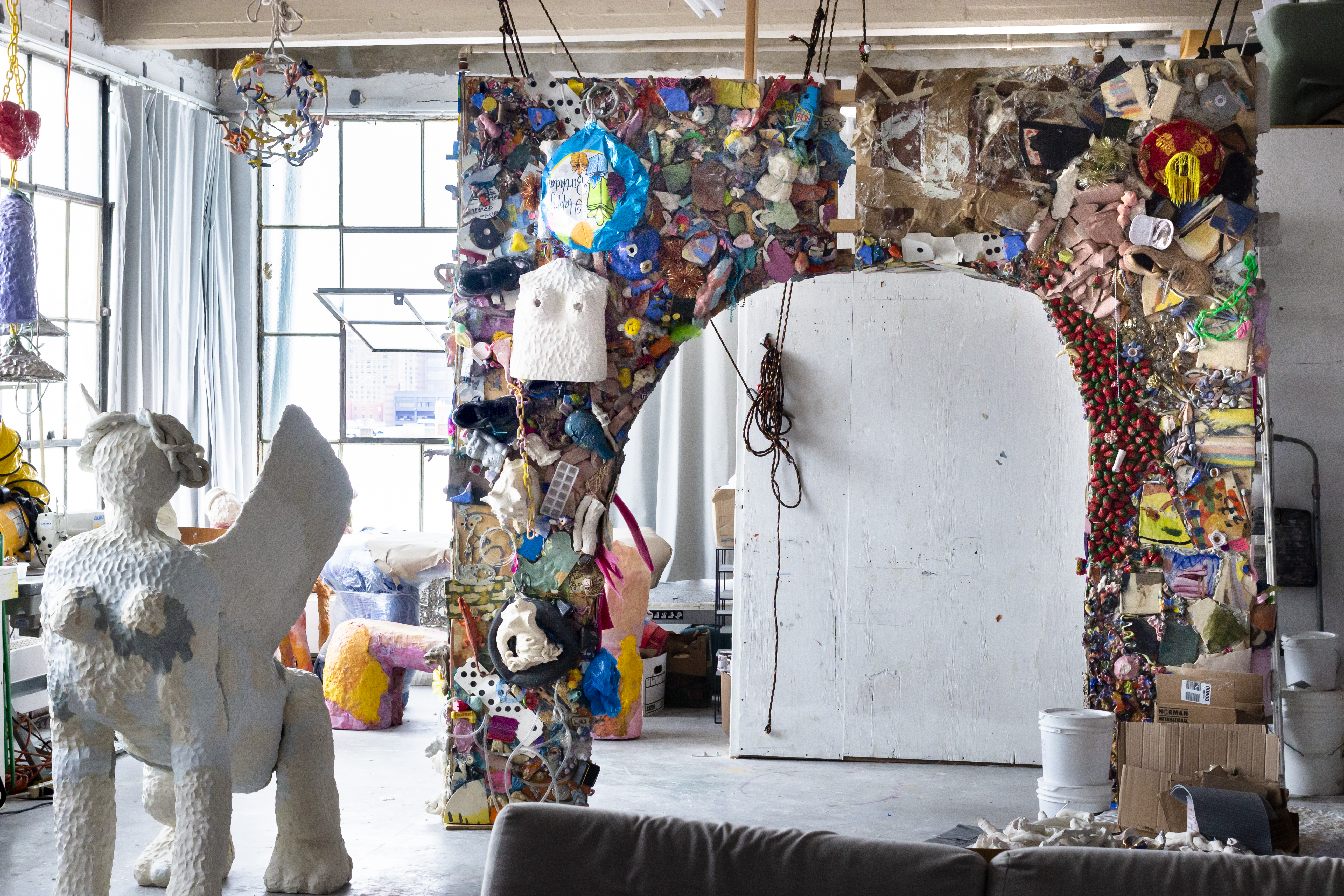 Photo of sculptures made from trash