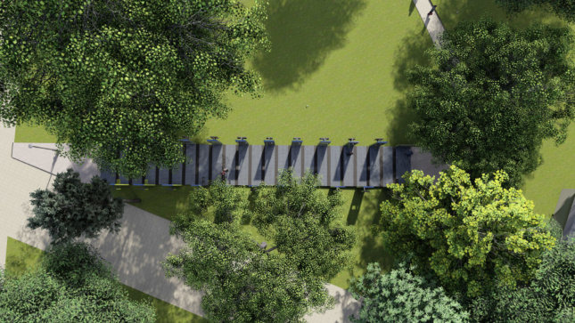 Rendering looking down on an outdoor path lined with 21 steel columns