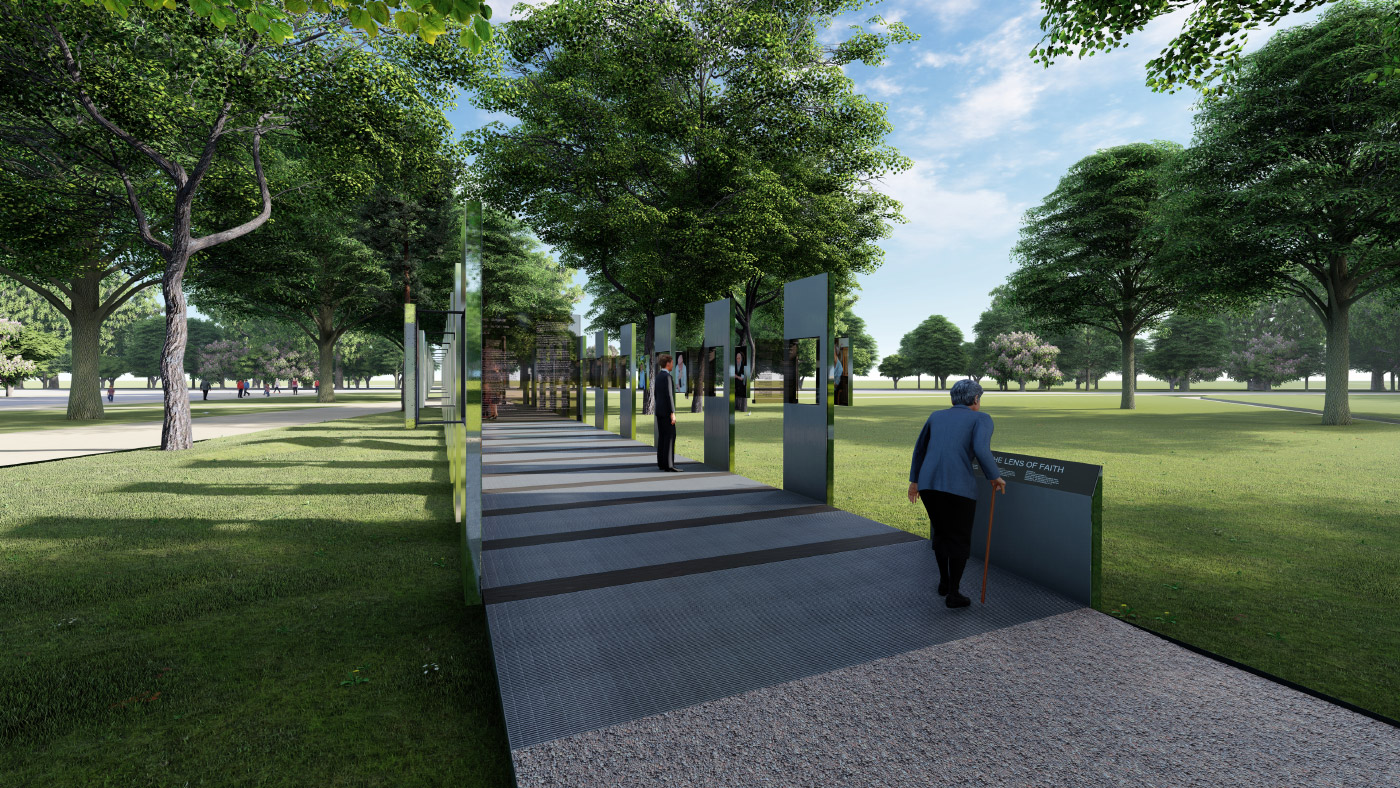 Rendering of outdoor path adorned with steel posts