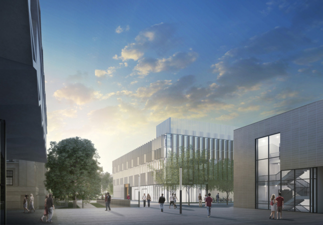 Exterior rendering of Weill Hall and public plaza