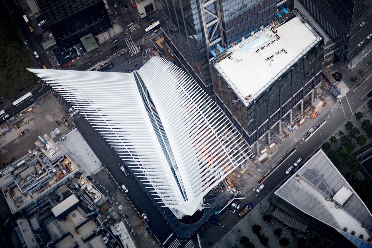 Aerial photo of the Oculus transit hub in Lower Manhattan
