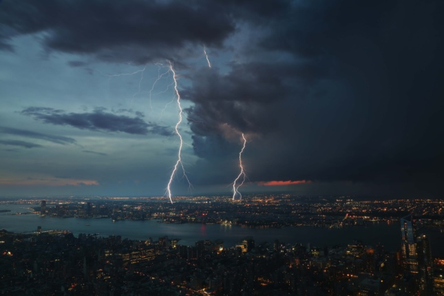 Aerial photo of lightning striking a city