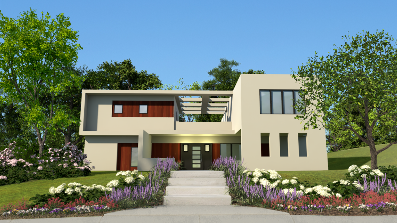 3D rendering of a two-story, flat-roofed home.