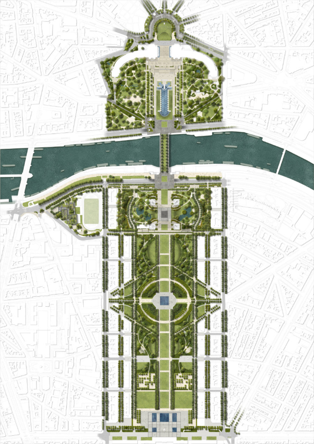 Site plan depicting a greenway running one mile from the Eiffel Tower in either direction