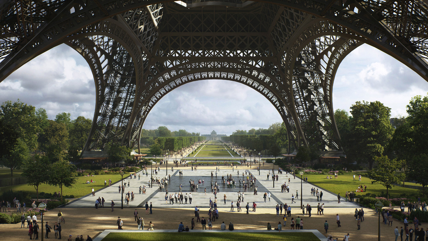 Rendering of a public plaza below the Eiffel Tower