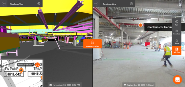 A split screen view of a 3D model and a photo of a worksite