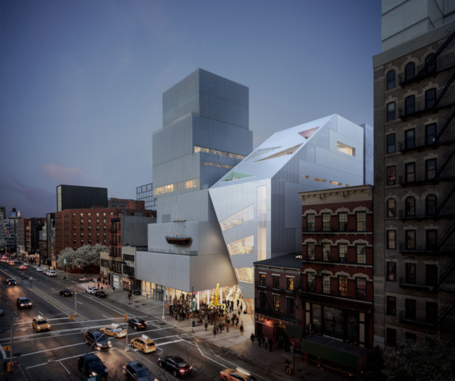Rendering of a triangular, glossy building leaning on the New Museum