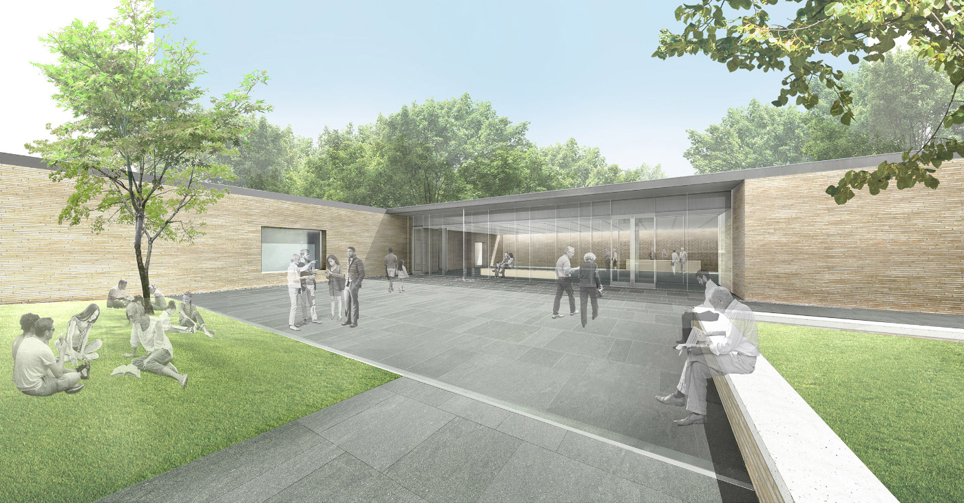 Rendering of a visitor center with a flat roof and brick walls