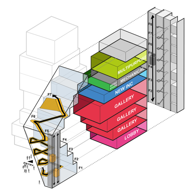 Axonometric diagram of a tall building with three gallery spaces, a ground floor lobby, and mechanical floors