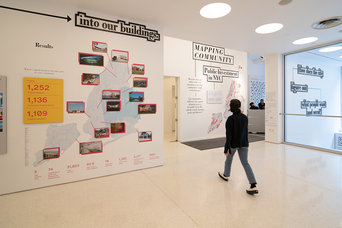 Image of woman walking in exhibition space, with a chart depicting how public money flows into buildings