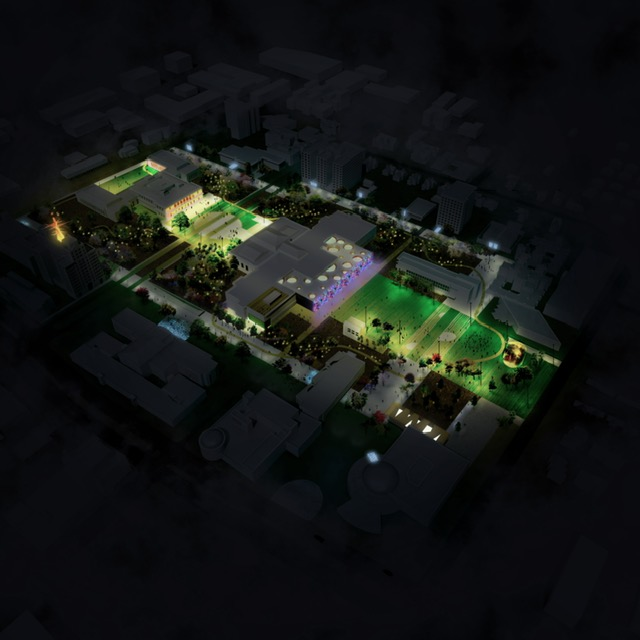 Night aerial rendering of Detroit's Midtown cultural center