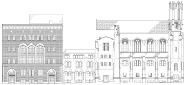 A black and white facade section diagram of three stone buildings