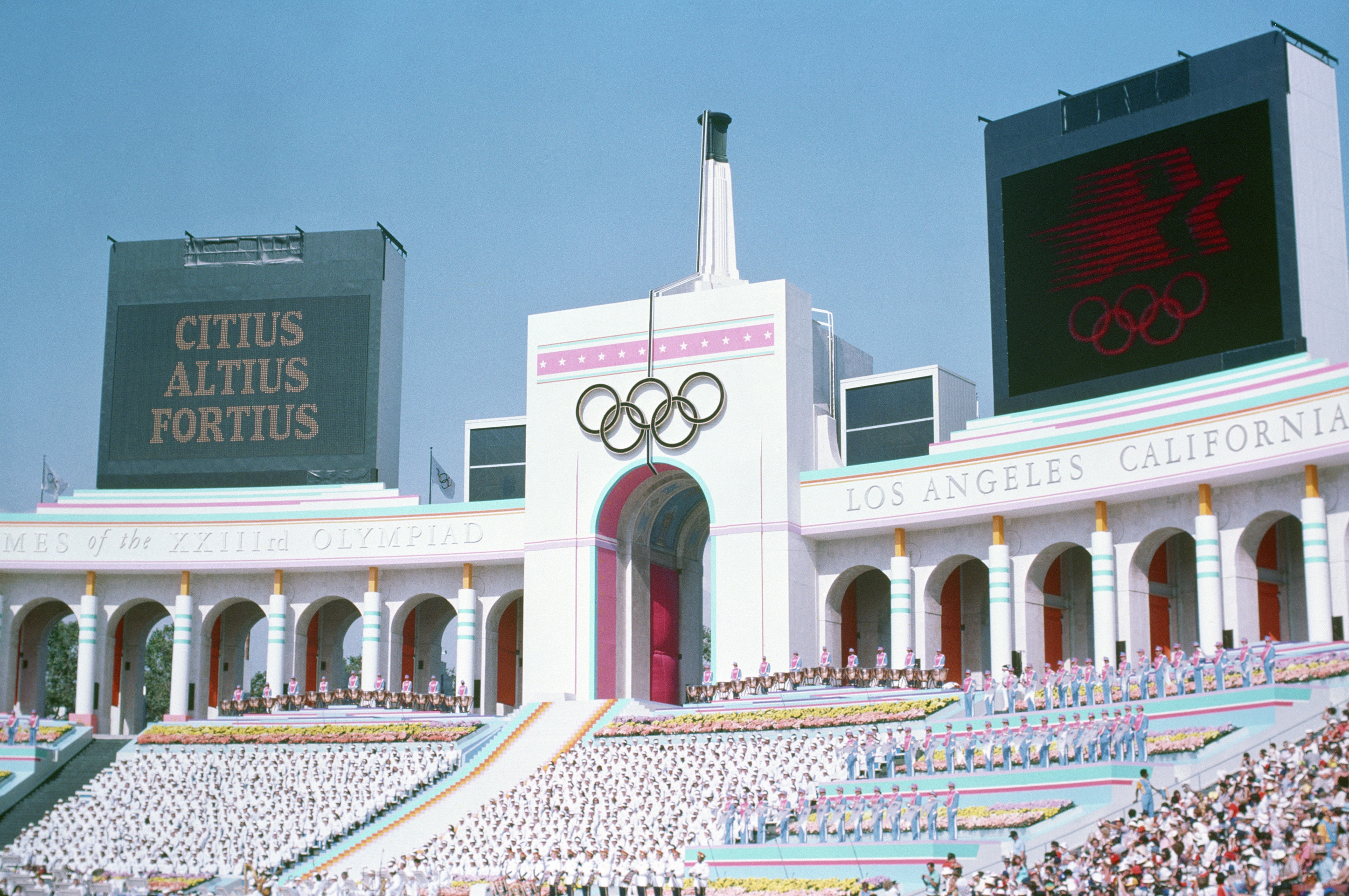 Photo of the Olympic Torch Tower of the Los Angeles Coliseum