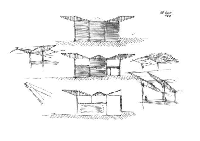 A black and white sketch of a winglike wood structure