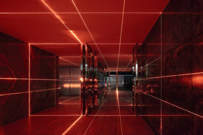 The Barcelona Pavilion in 2015, when it was blasted with red laser light