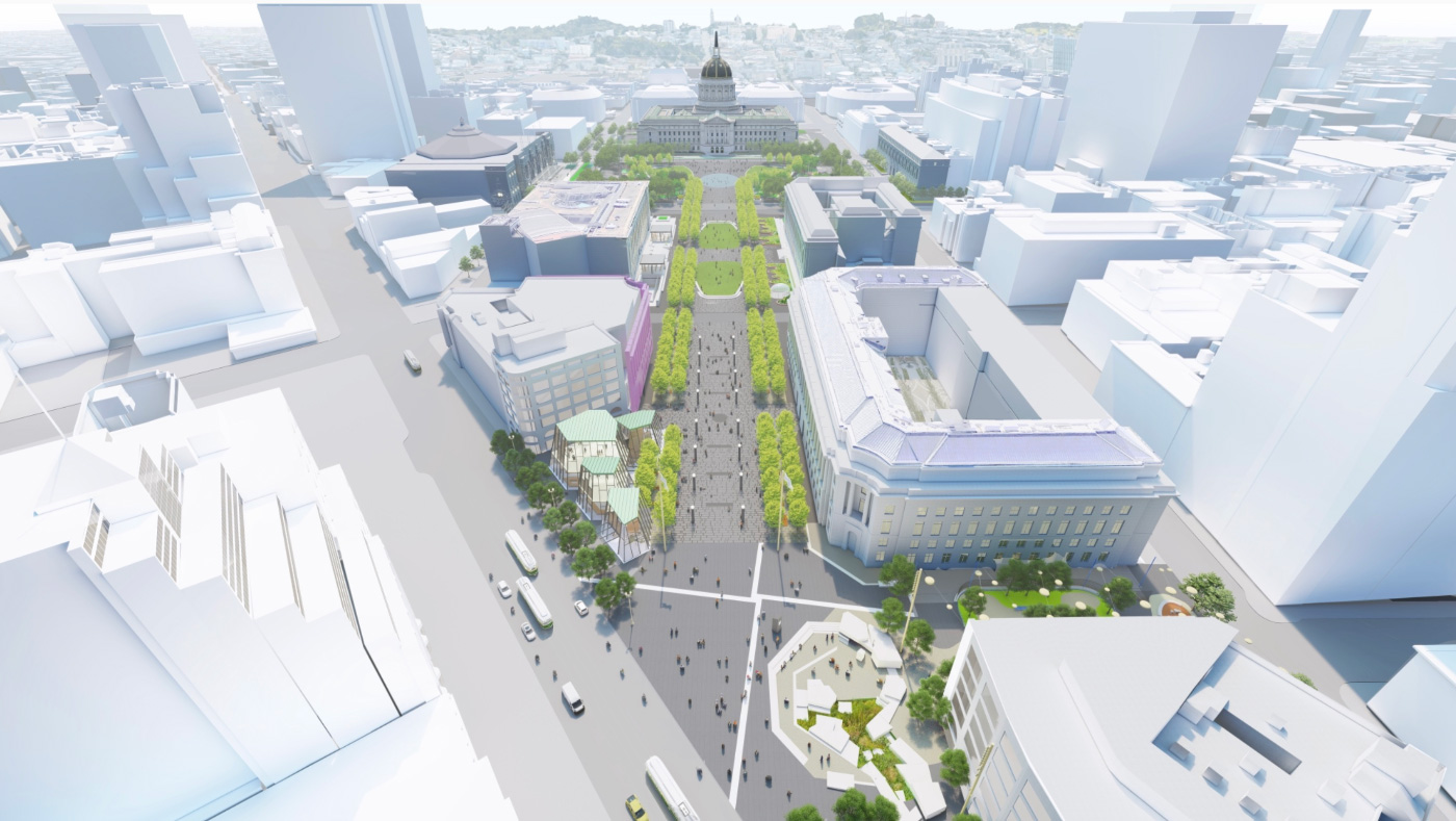 A rendering of a green strip leading to San Francisco's Civic Center