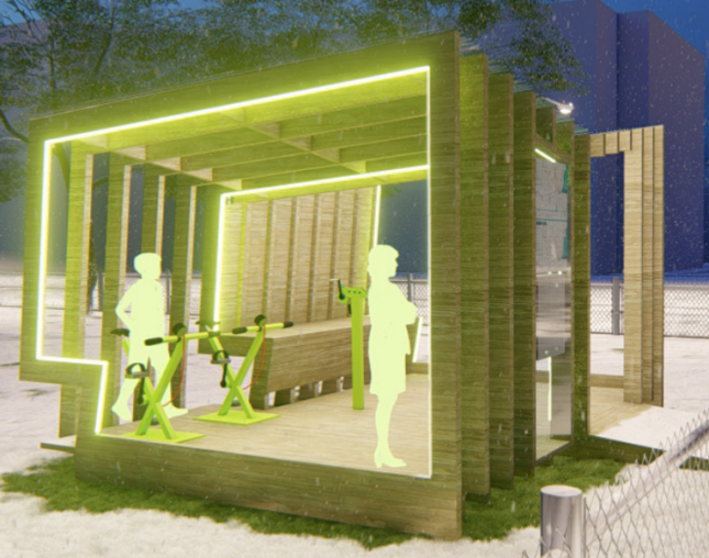 Rendering of a pavilion constructed from wooden frames, with embedded LED strips