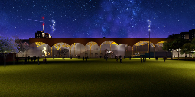 Rendering of an outdoor canopy at night