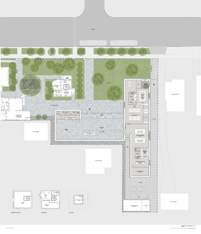 A site plan depicting an entry visitors center and education area, which leads to a landscaped plaza and several older buildings