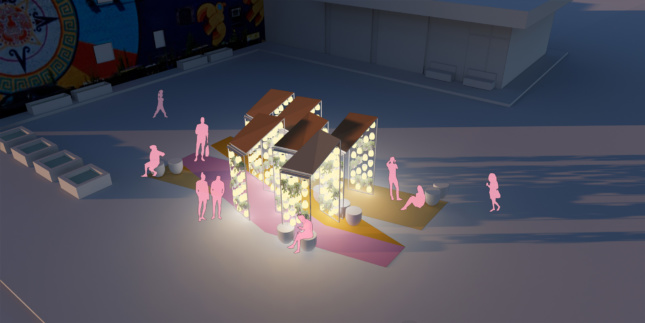 Rendering of abstracted pink people below a lit-up cluster of canopies, a winner of the Detroit City of Design Competition