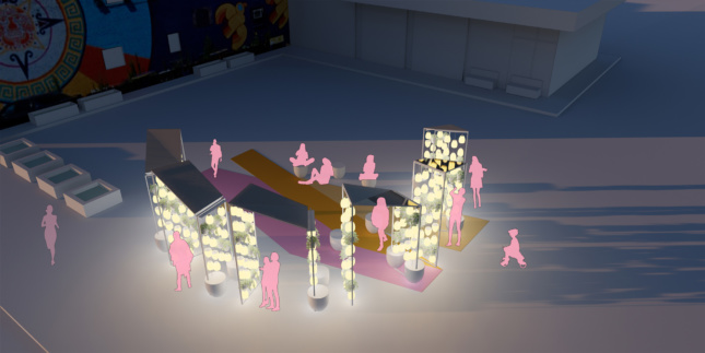 Rendering of abstracted pink people below a lit-up cluster of canopies