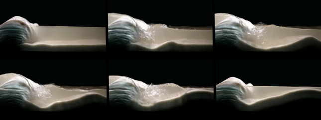 Photo of sand and water rushing over a surface in six photos
