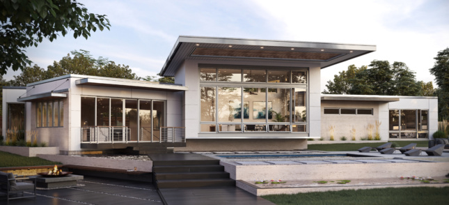 Photo of house with Signature Collection Marvin doors