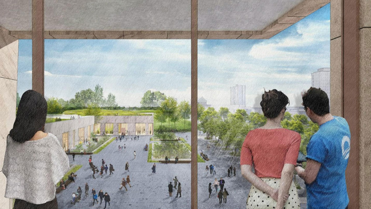 Rendering of a park from inside a squat tower on the Obama Presidential Center campus