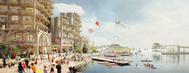 Rendering of timber towers along a waterfront, with kayakers and others enjoying the river